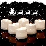 Homemory Pack of 12 Flameless Flickering Battery Operated LED Tea Lights White Light Wave Open Candles for Wedding…