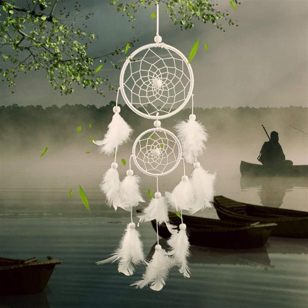 DUOER-wind chimes Vintage Home Decoration Retro Feather Dream Catcher Circular Feathers Wall Hanging Dream Catchers Decor for Car (Color : C) by DUOER-wind chimes (Image #4)