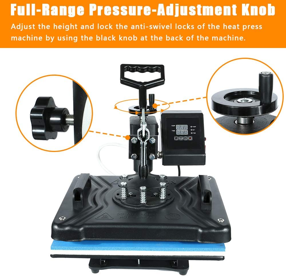 EOSAGA Heat Press 12/×15 Heat Press Machine 6 in 1 Digital Multifunctional Sublimation Swing Away Heat Press for T Shirts Hat Mug Cap Plate 6 in 1Swing Away 12x 15