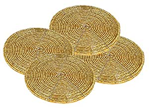 AsiaCraft Golden Décor Indian Handmade Beaded Coffee, Tea Coaster 4.2 Inches Set of 4