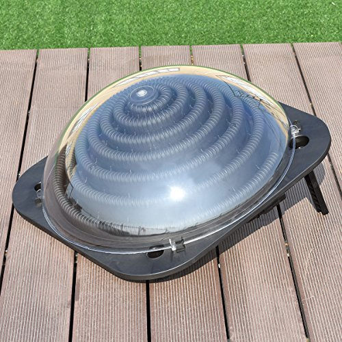 Costway black outdoor solar dome inground above ground - Solar powered swimming pool heater ...