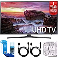Samsung UN65MU6290FXZA Flat 64.5 LED 4K UHD 6 Series Smart TV (2017) + 2x 6ft High Speed HDMI Cable + Universal Screen Cleaner + 6-Outlet Surge Adapter with Night Light + 1 Year Extended Warranty