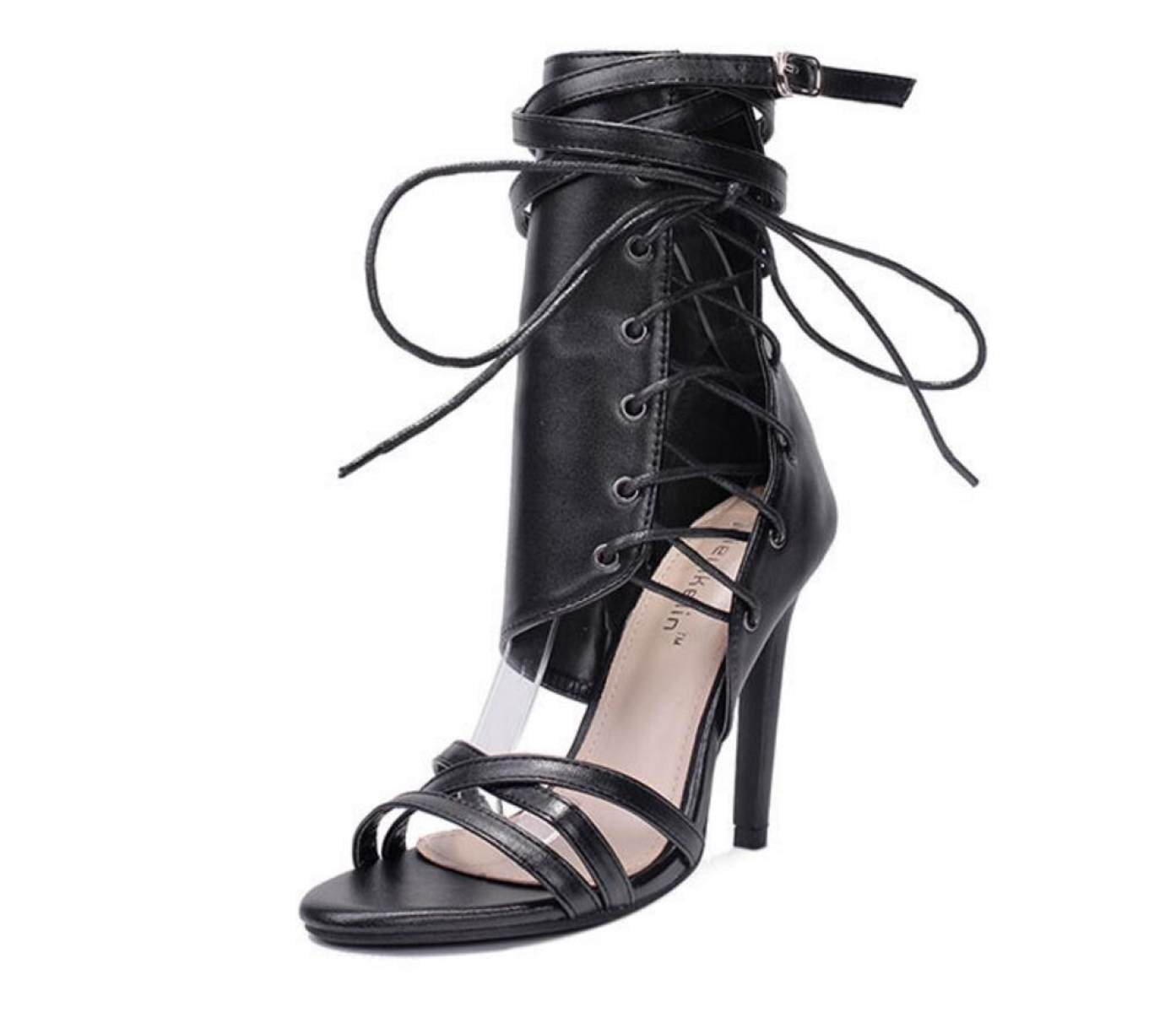 NBWE Sexy Riemengürtelschnalle High 12cm Heels Römermode Sandalen 12cm High schwarz 9f25b6