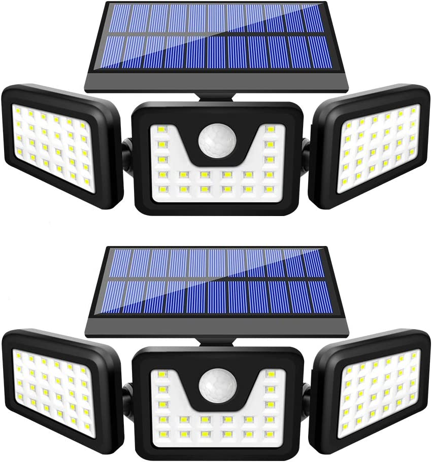 BEACON Solar Lights Outdoor, 800LM Wireless LED Solar Motion Sensor Lights Outdoor, 3 Adjustable Heads, 270° Wide Angle Illumination, IP65 Waterproof, Security LED Flood Light (2Pack): Home Improvement