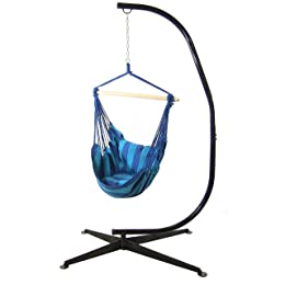 Sunnydaze Hanging Hammock Swing with Two Cushions and C-stand Combo, Oasis