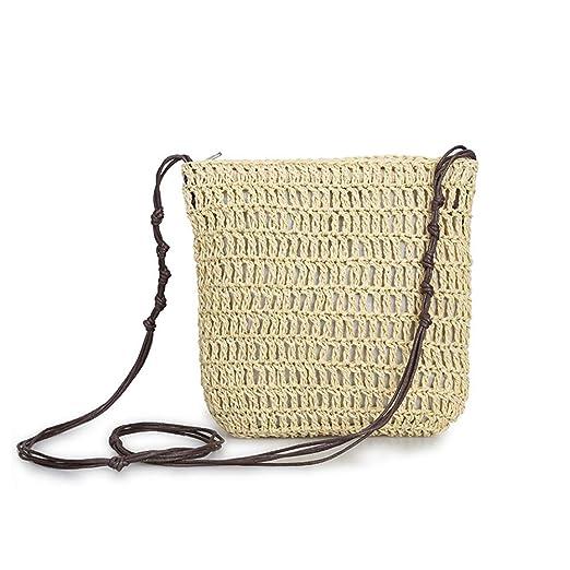 c33b88934dc5a WDOIT Strohtaschen Damen Handtaschen Sommer Strohsack Crossbody Tasche  Retro Schulterbeutel Freizeit Geflochten Strandtasche