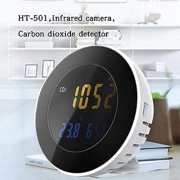 pinguesty Medidor de Humedad de la Temperatura del Detector de dióxido de Carbono HT-501 con Pantalla LCD a Color de Gran tamaño Plástico Recargable ...