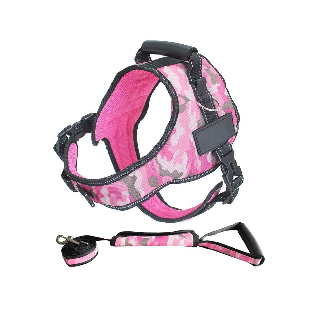 Camouflage pink B XXL Camouflage pink B XXL Dog Leash Harness Set with Collar & Heavy Duty Denim Dog Leash Collar for Small Medium Large Dog,6 colors (color   Camouflage Pink B, Size   XXL)