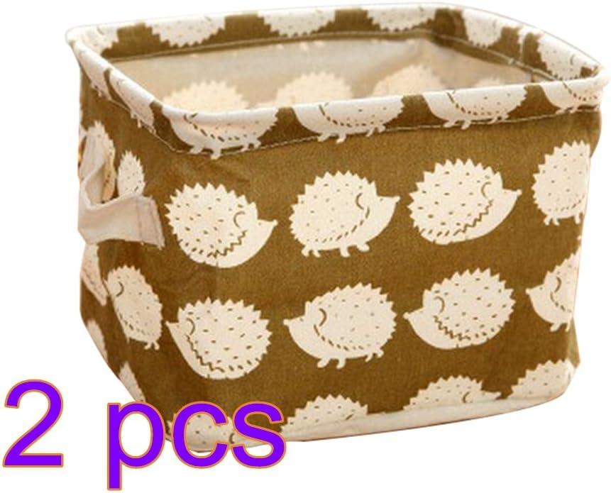 Cdet 2X Caja de almacenaje Acabado de Escritorio cosm/éticos de algod/ón y Lino Caja de Almacenamiento Cesta de Recogida de Ropa,Bosque Profundo