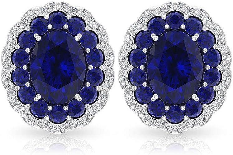Solid 925 Sterling Silver Sapphire Oval Earring Victorian Sapphire Rose Cut Earring CZ Dangle Earring Handmade