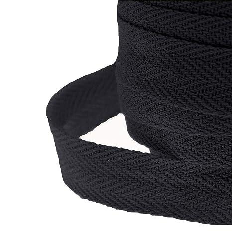 1 Inch Wide Black, 5 New Cotton Apron Herringbone Webbing Tape Black Colour 25 mm
