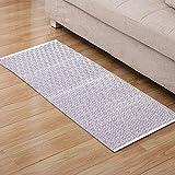 Furnily Cotton Diamond Rugs Non Slip Hand-woven Kitchen Rug Runner Machine Washable Mat Floor Carpet Door Mat Rug 60 x 130cm (Purple and White)