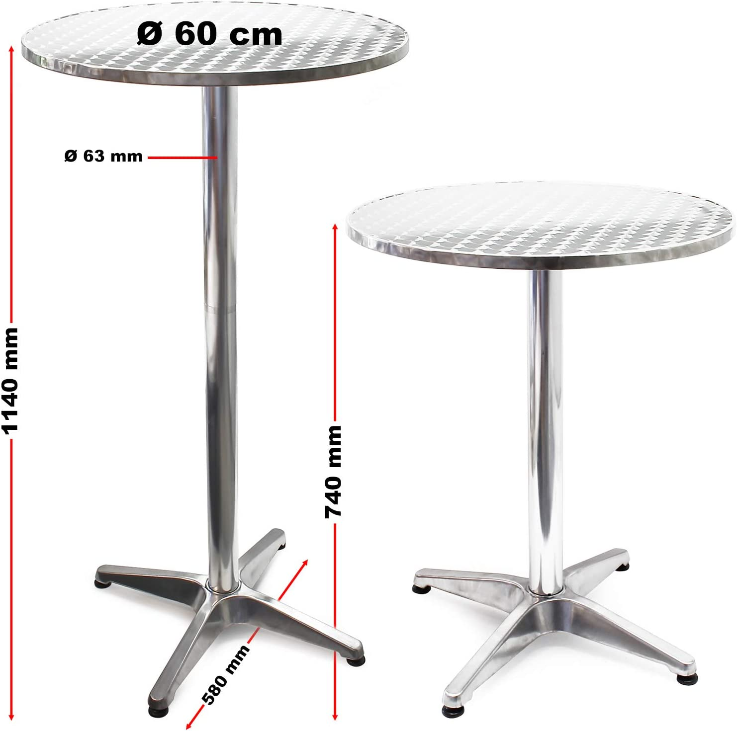 Mesa de bar Bistro Aluminio Plegable Altura regulable 74-114 cm Ø ...