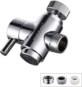 Brass Faucet Diverter Valve with Aerator, 3 Way Faucet Splitter with Male Thread Adapter, 360° Swivel Faucet Adapter for Sink Hose Attachment, Faucet Connector for Bathroom/Kitchen(Chrome)