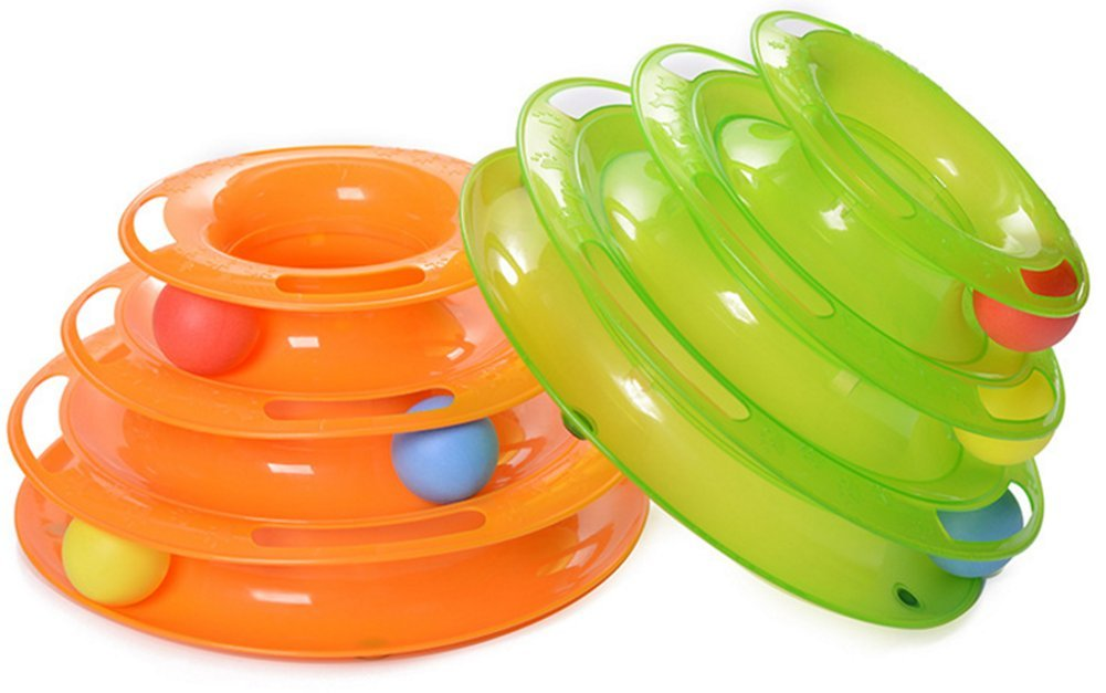 Cat track toy with Colorful Balls Interactive Cat Toy - three Layer track Tower toy for One or Multiple Cats(Green Color)