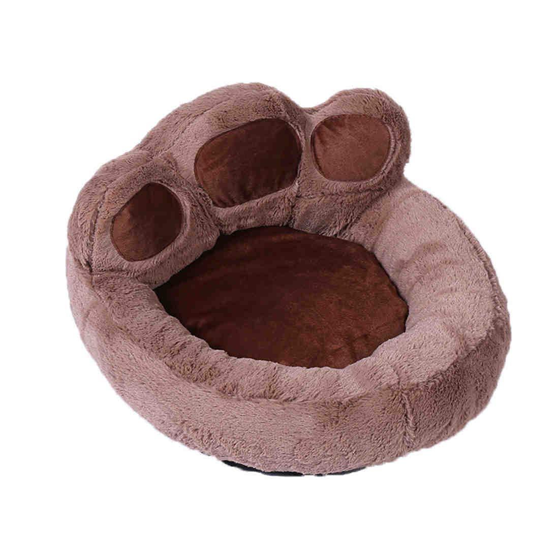 Small Cute Short Velvet Kennel Foot Shape Dog Bed Soft Dog Sofa Detachable Washable Dirt Resistant Bite Resistance Brown  3 Sizes