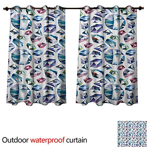 Clear Crystal Astoria (WilliamsDecor Diamond Outdoor Ultraviolet Protective Curtains Small Larges Watercolor Style Shaded Diamond Crystal Stones Wealth Bridal Theme Image W55 x L45(140cm x 115cm))