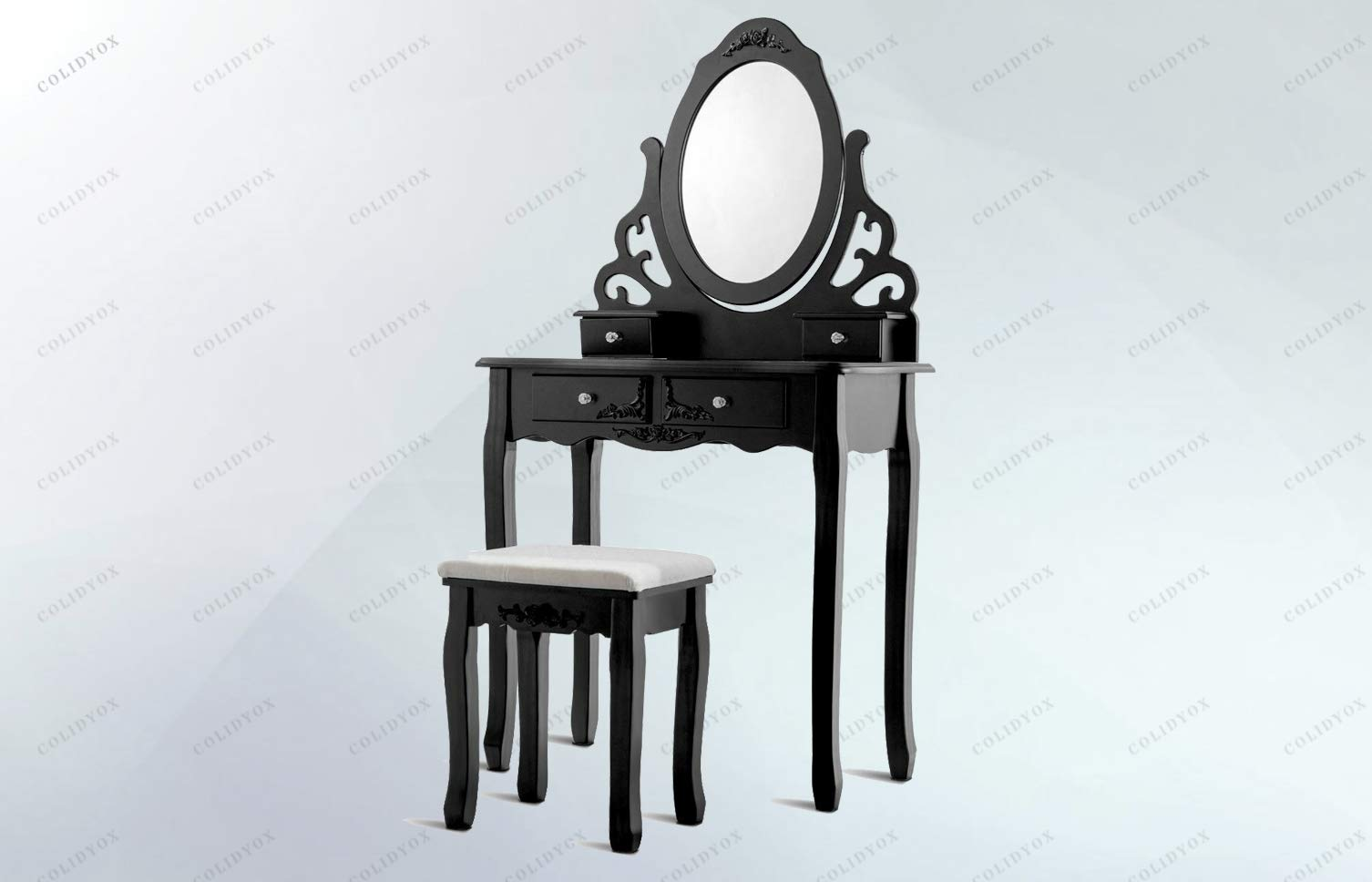COLIDYOX___Wonderful Dressing Table Set,Glamorous,Fantastic Product,Black Appearance,Elegant,fine Display,Mirrored,Four Drawers and a Stool,Biggest Characteristic,Mirror and Drawers,Smooth Tabletop