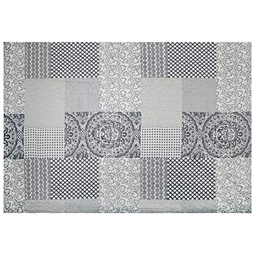 STOF France 106'' Pre Quilted Claudette Fabric, Gris, Fabric By The Yard