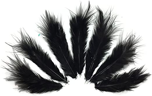 USA SELLER 1 Dozen Natural Black Rooster Chickabou Fluff Feathers