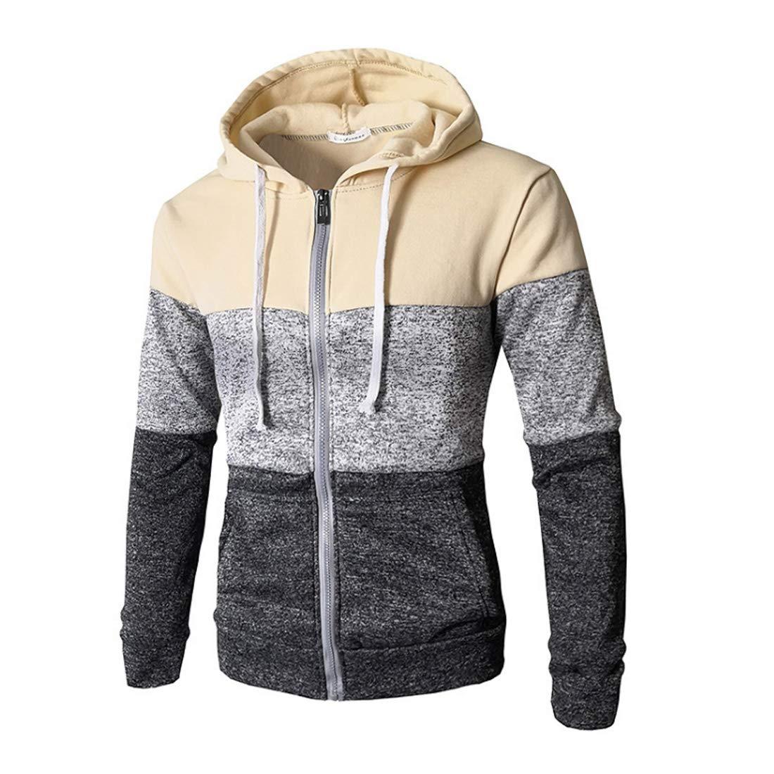 Aiweijia Men Cardigan Sweater Hoodie Patchwork Hip Hop Coat Pullover Sportswear