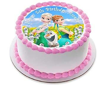 Disney Frozen Fever Elsa Anna Princess Personalized Cake Topper Icing Sugar Paper 75 Image 3 By