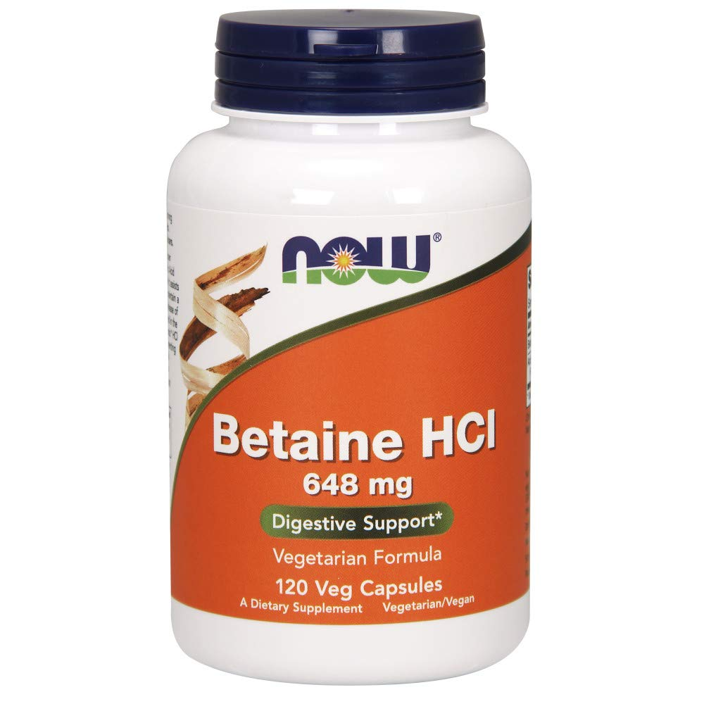 NOW Betaine HCl 648 mg,120 Capsules