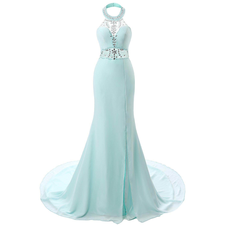 ASVOGUE Mujer Vestido de Fiesta Apertura Lateral con Adorno Diamantes Falso, Azul Claro XXXXL: Amazon.es: Ropa y accesorios
