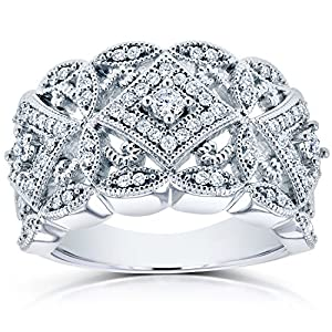 Diamond Antique Filigree Wide Anniversary Ring 1/2 carat (ctw) in 10K White Gold