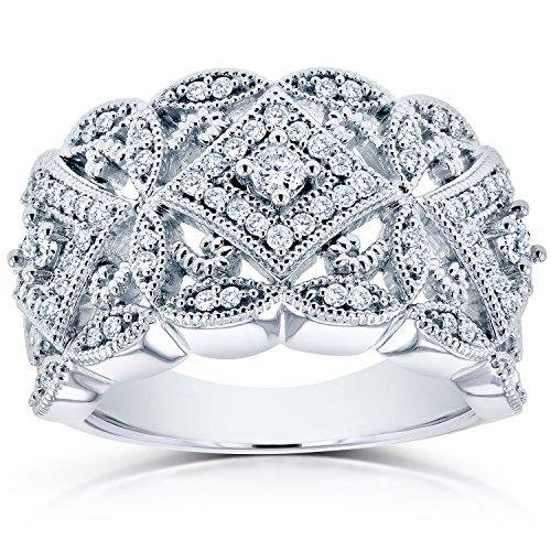 Diamond Antique Filigree Wide Anniversary Ring 1/2 carat (ctw) in 10K White Gold
