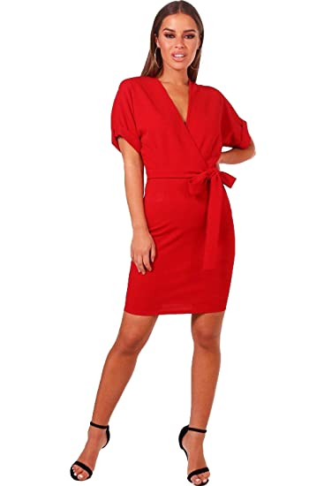 YourPrimeOutlet Red Womens Petite Riley Wrap Belted Dress: Amazon.co.uk: Clothing