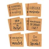 Pack of 12 Drink Coasters - Beverage Coasters Funny Wine Pun Novelty Cork Coasters for Drinks, Bar Drink Coaster Set, Brown - 4 x 0.25 Inches