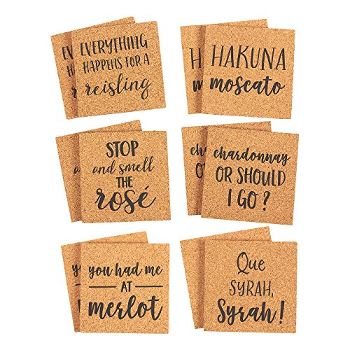 - Juvale Square Cork Coasters with Funny Quotes (12 Pack)