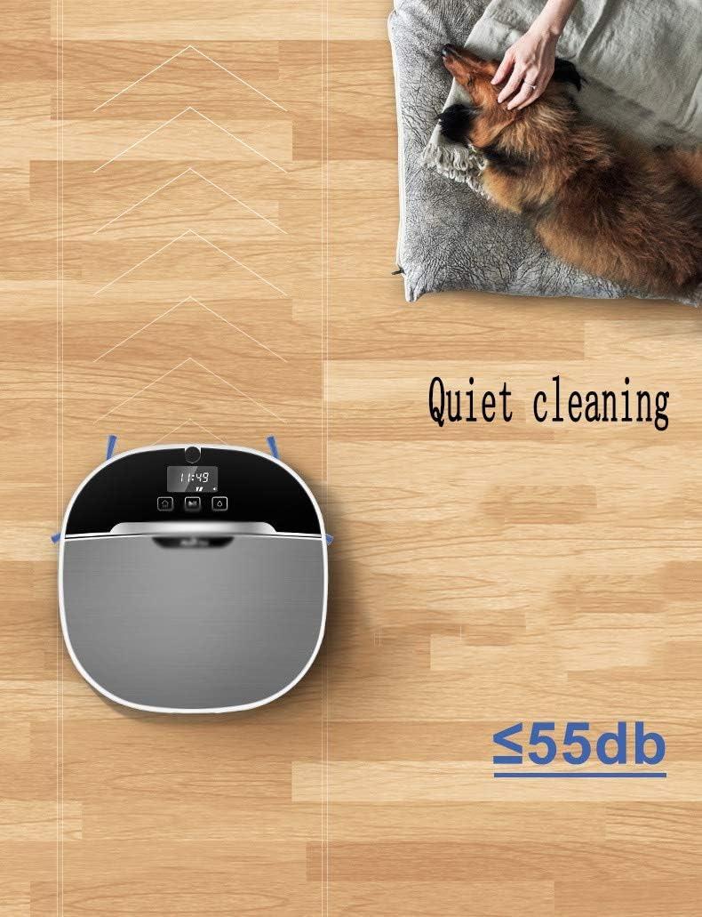 Aspirateur robot, robot de nettoyage anti-chute et capteurs de collision, Convient for sols durs et tapis à faible duvet, animaux de fourrure (Color : Gray) Gray