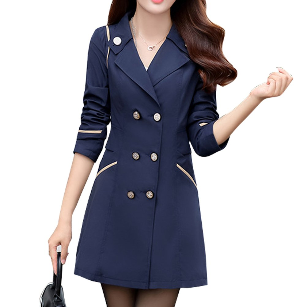 Dark bluee Woman Trench Spring Autumn Winter Woman Crusader Jacket Coat Trench Cotton (color   bluee, Size   XXL)
