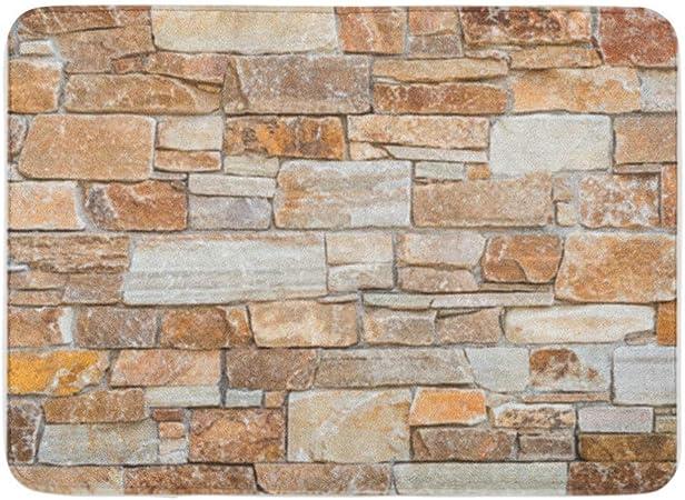 Tapis de bain Tissu mur de pierre absorbante douce de ...