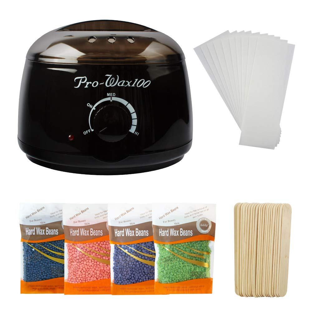 LIDDY Wax Warmer Hair Removal Waxing Kit for Women and Man - Include 4 Scents Hard Wax Bean & 20 Wax Applicator Sticks & 10 Wax Strips (Black)