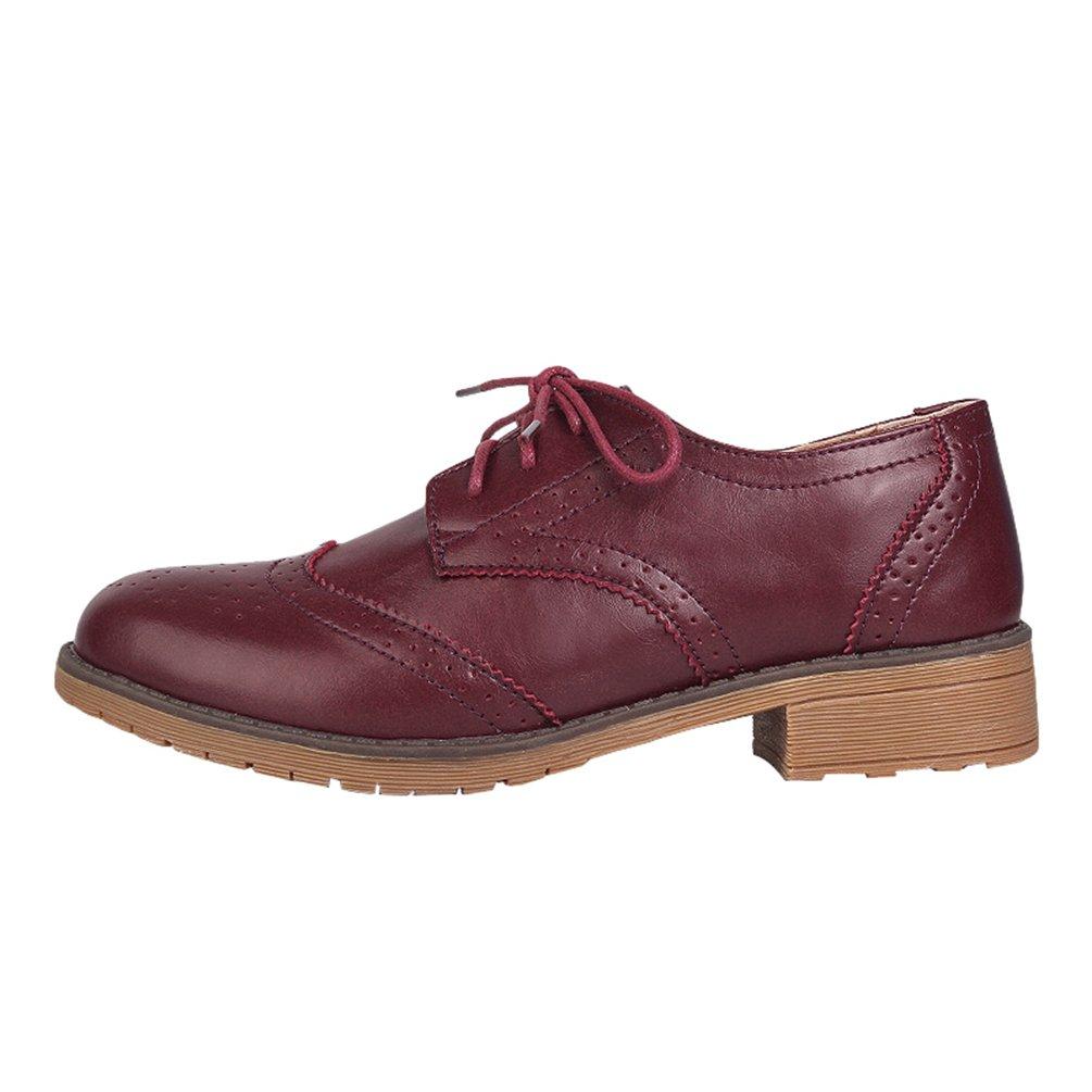 Yiiquan Femme Loisirs Derby Rétro Chaussures Derby Rouge Brogues Plat 19736 Bout Rond Classique Lacets Chaussures Rouge Marron dcb8de2 - gis9ma7le.space