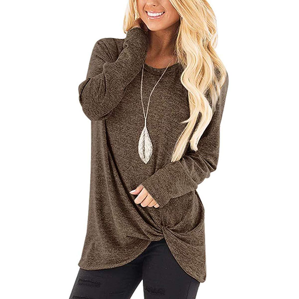 Brown Ilfioreemio Women Knit Tunic Top Round Neck Blouse Knot Twist Front Long Sleeve Casual Soft Sweatshirt