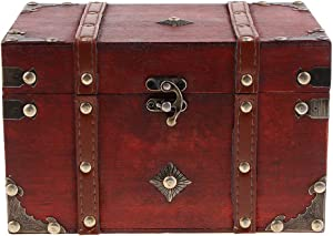 Flameer Antique Wooden Jewelry Box Storage Organizer Gift Decorative Boxes - B