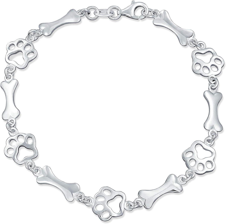 Pet Lover Dog Puppy Paw Print Bone Charm Link Limited price sale Multi Bracelet Max 55% OFF Bff