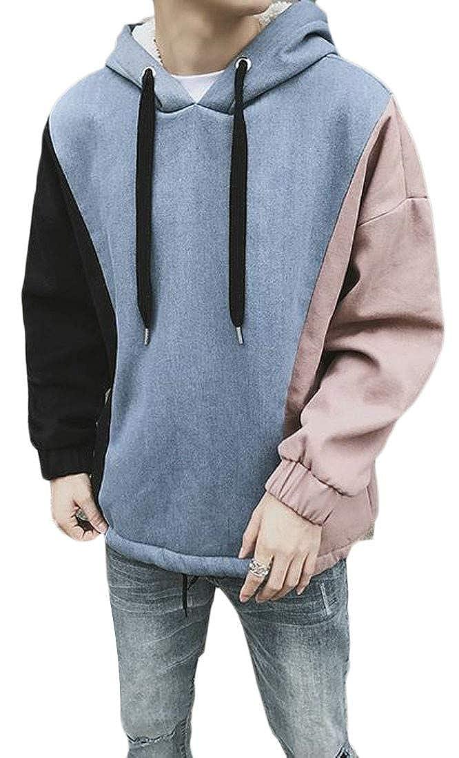 Lutratocro Mens Plus Size Contrast Color Drawstring Hooded Fleece Sweatshirt Pullover