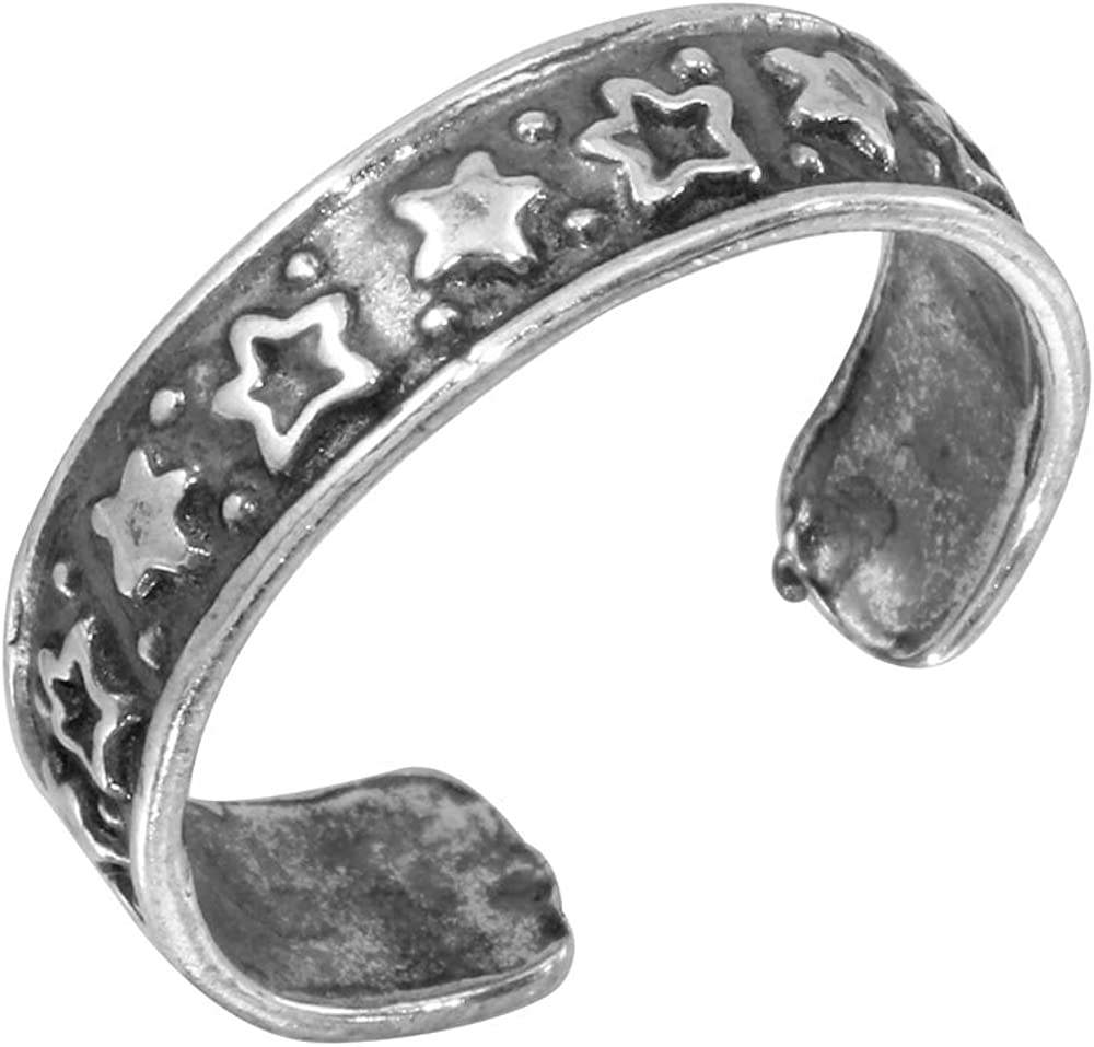 CloseoutWarehouse Sterling Silver Lining Stars Toe Ring