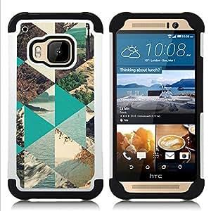 """HTC One M9 /M9s / One Hima - 3 en 1 impreso colorido de Altas Prestaciones PC Funda chaqueta Negro cubierta gel silicona suave (Naturaleza Polígono Sea Forest Lake"""")"""