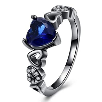 GS /& CO 2.50ct Blue Heart Shape Sterling Silver 925 wedding /& engagement ring