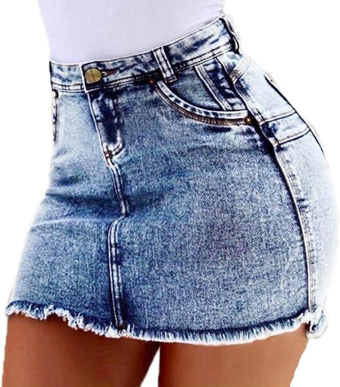 Huateng Falda de Cintura Alta para Mujer, Falda Casual de ...