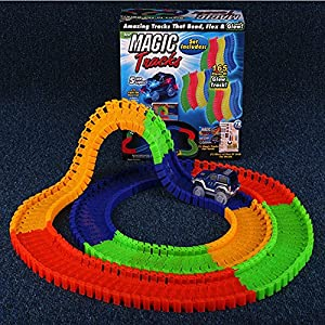 Hhobake Race Track,Magic Track,Glowing Race Track Sets,220pieces(Colourful)