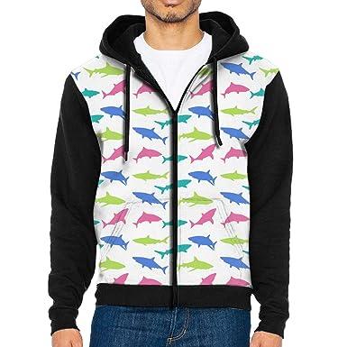 4d9e7a5c4e9a Amazon.com  CHAN03 Brilliant Shark Men s Hoodie Hooded Sweatshirt Pocket   Clothing