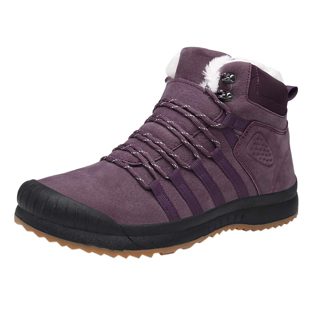 Fheaven Women's Mid High-Top Velvet Warm Cotton Boots Waterproof Hiking Outdoor Boot Comfortable Snow Boots Purple by Fheaven-shoes