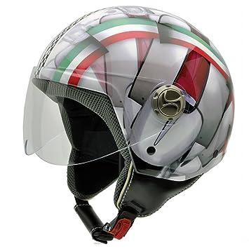 NZI 3D Vintage II Casco de Moto, Mix Bandera Italiana y Detalle de Motocicleta,